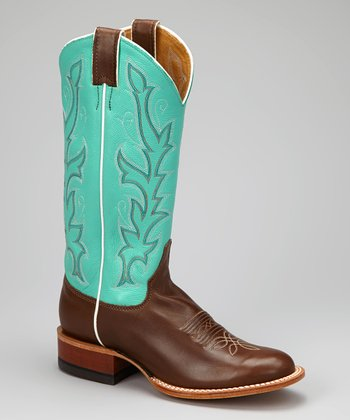 Turquoise & Chocolate Burnished Cowboy Boot - Women
