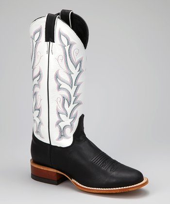 Black & White Cowboy Boot - Women