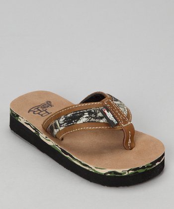 Brown Justin Mossy Oak Flip-Flop