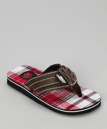 Red Plaid Flip-Flop