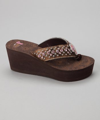 Brown Calf-Hair Kathy Platform Sandal - Women