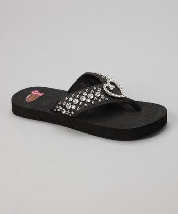 Black Trinity Heart Flip-Flop - Women