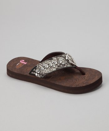 Brown Trinity Heart Flip-Flop - Women