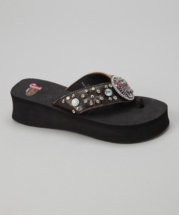 Black Autumn Platform Flip-Flop - Women