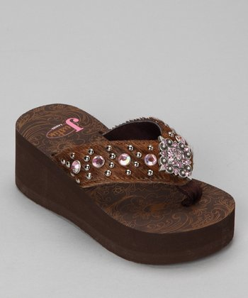 Brown & Pink Addison Platform Flip-Flop - Girls