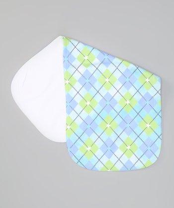 Aqua Argyle Cutouts Burp Cloth