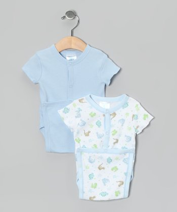 Blue Dino Wrap Bodysuit Set