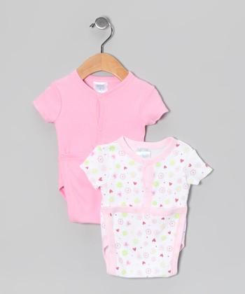 SpaSilk Pink Flower Wrap Bodysuit Set
