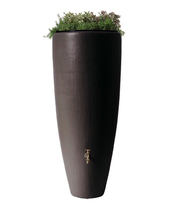 Charcoal Gray Bullet Planter Rain Barrel