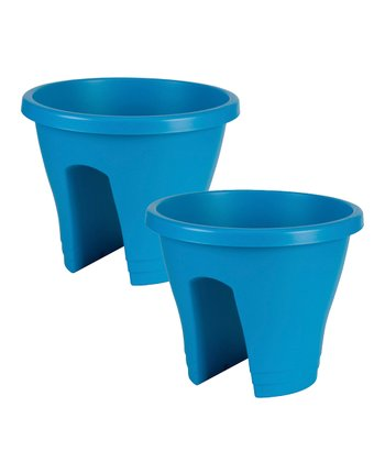 Blue Corsica Round Planter - Set of Two
