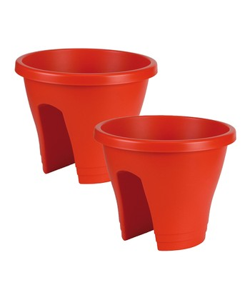 Red Corsica Round Planter - Set of Two