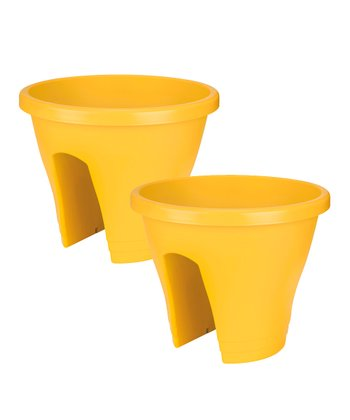 Yellow Corsica Round Planter - Set of Two