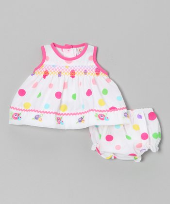 White Polka Dot Rose Dress & Diaper Cover