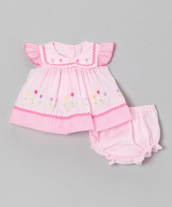 Pink Flower Dress & Diaper Cover