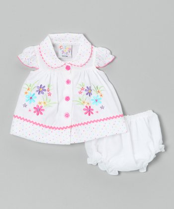 White Flower Button Dress & Diaper Cover