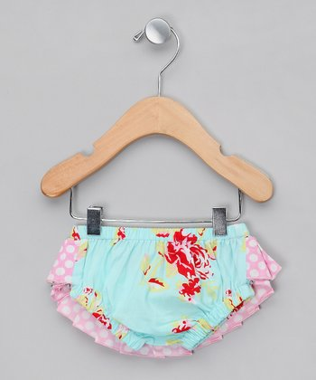 Pink & Blue Polka Dot Ruffle Swim Diaper - Infant