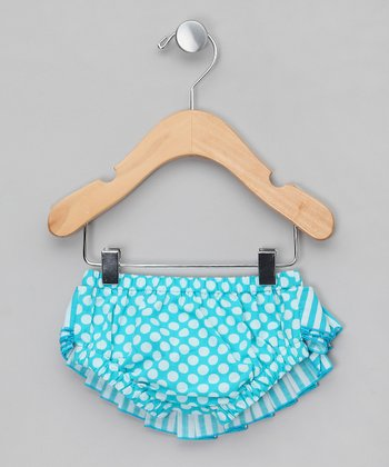 Blue & White Polka Dot Ruffle Swim Diaper - Infant & Toddler