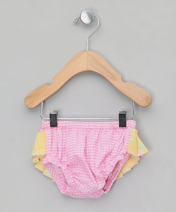 Pink & Yellow Gingham Ruffle Swim Diaper - Infant & Toddler