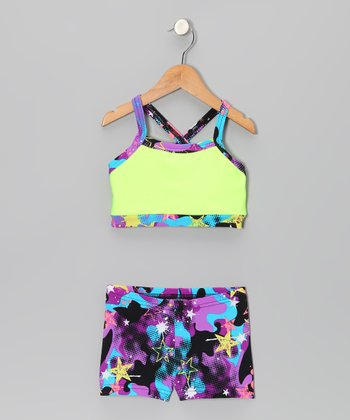 Yellow & Purple Graffiti Crop Top & Shorts - Girls