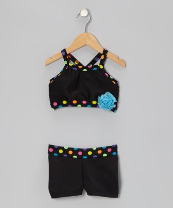 Black Polka Dot Crop Top & Shorts