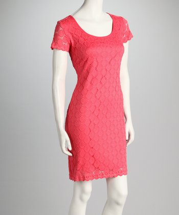 Coral Lace Short-Sleeve Dress