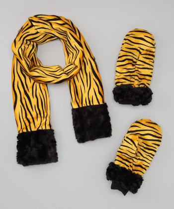 Black & Yellow Tiger Scarf & Mittens - Adults