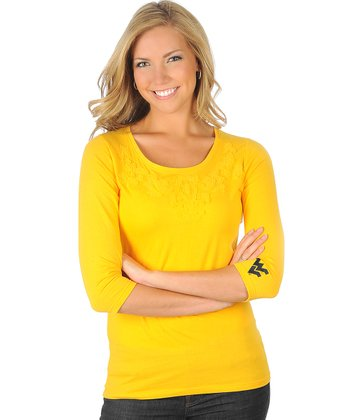 Gold Appliqué West Virginia Top - Women