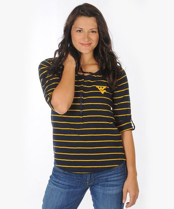 Navy Stripe West Virginia Henley - Women