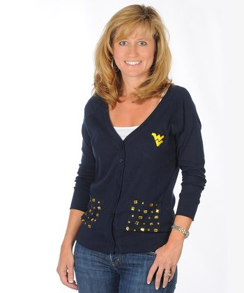 Navy Rhinestone West Virginia Cardigan - Women