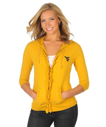Old Gold Ruffle West Virginia Zip-Up Hoodie - Women