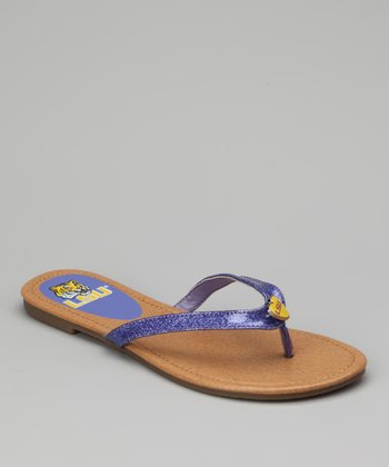 Tan & Purple LSU Flip-Flop