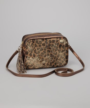 Bronze Leopard Leather Boo Crossbody Bag