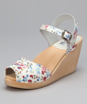 White Floral Leather Bologna Sandal