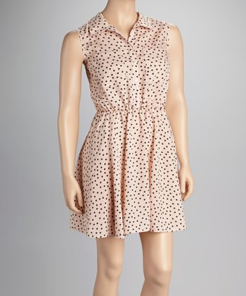 Pink Polka Dot Sleeveless Dress