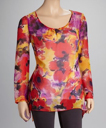 Red Floral Sheer Sidetail Top