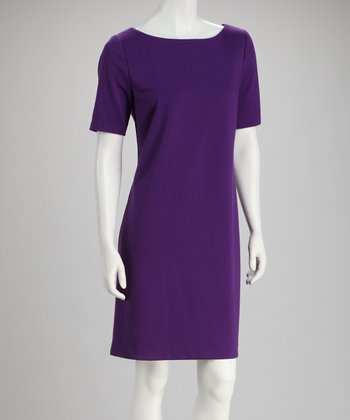 Purple Short-Sleeve Dress