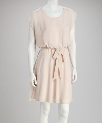 Ecru Tie-Waist Dress