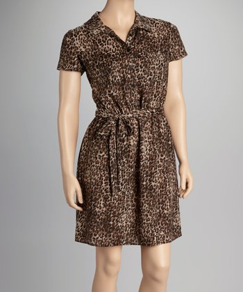 Brown Leopard Short-Sleeve Dress