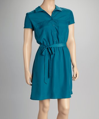 Blue Short-Sleeve Dress
