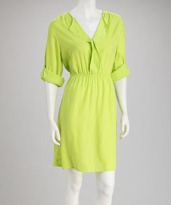 Tacera Lime Tab-Sleeve Dress