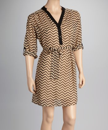 Brown Zigzag Dress