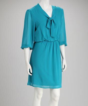 Tacera Turquoise Tie-Collar Dress