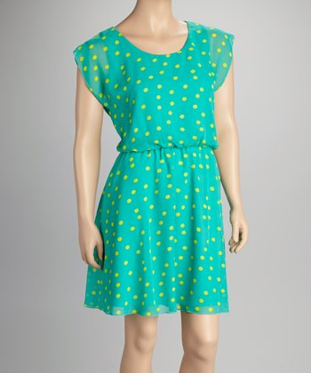 Blue & Lime Polka Dot Dress