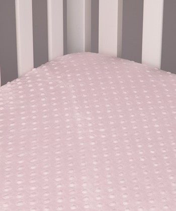 Baby Pink Minky Dot Fitted Crib Sheet