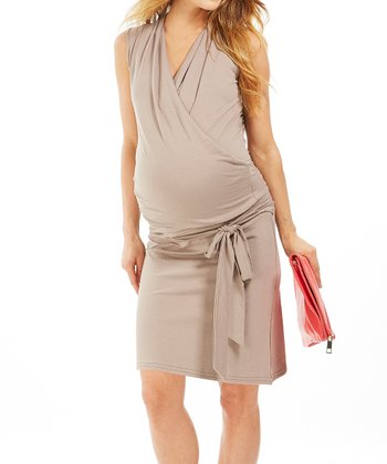 Taupe Lady Maternity Surplice Dress
