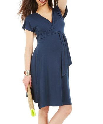Navy Blue Portefeuille Maternity Wrap Dress