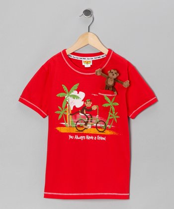 Red Pocket Monkey Rides Organic Tee - Infant, Toddler & Boys