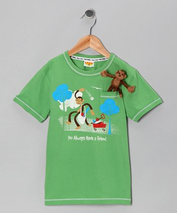 Green Pocket Monkey Plays Organic Tee - Infant, Toddler & Boys