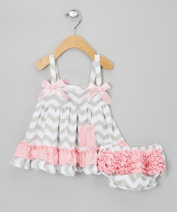 Light Pink & Gray Zigzag Swing Top & Diaper Cover - Infant