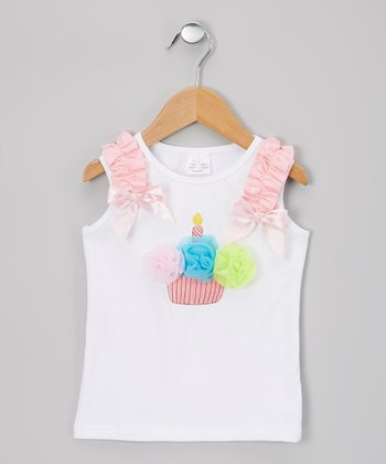 White & Pink Cupcake Tank - Infant & Toddler